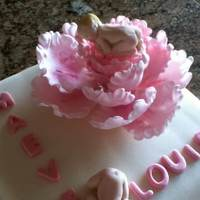 This Is A Christening Cake Its Also My First Attempt At Making A Peony Hope You All Like It   This is a christening cake , its also my first attempt at making a peony, hope you all like it. :)