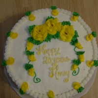 Anniversary Cake Traditional Wedding cake flavorYellow buttercream roses