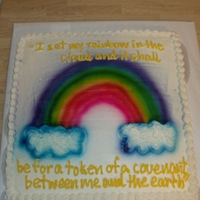 Church Cake This is a chocolate cake that I did for our church birthdays. It has an airbrushed rainbow and a verse from the Bible-about God sending a...