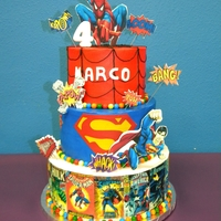 Super Hero Cake   buttercream cake with photofrost images