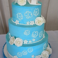 Something Blue Bridal Shower Cake   Blue buttercream cake with gumpaste roses and shoe