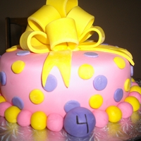 Pink Poka Dots Bow Cake Rainbow vanilla cake with vanilla butter cream, decorated with marshmallow fondant