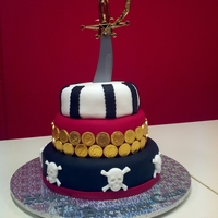 Ahoy There! Pirate themed birthday cake made for a friend's son's 7th birthday. Original picture supplied by friend, unsure of original...