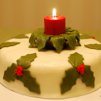 Christmas Fruit Cake With Buttercream Fondant The holly leaves and cake are made of rolled buttercream fondant. The cake is a rich traditional fruit cake. (You can also use marzipan...