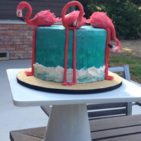 Flamingo Cake The Flamingos Are Made Out Of Gumpaste The Sand Is Brown Sugar And The Rest Is Buttercream It Was Inspired By A Cake I Foun Flamingo cake. The flamingos are made out of gumpaste. The sand is brown sugar and the rest is buttercream. It was inspired by a cake I...