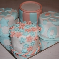 Baby Blue And Peach Mini Cakes
