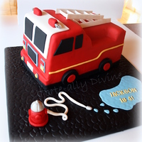 Fire Engine Cake For My Little Mans 4Th Birthday All Edible Except The Little Led Lights On Top Loved Making This One Fire Engine cake for my little man's 4th birthday.All edible except the little LED lights on top. Loved making this one!