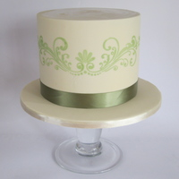 A Simple Small Birthday Cake In Cream And Avacado Colours A simple small birthday cake in cream and avacado colours.