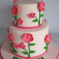 Pretty In Pink 6' and 4' cakes with pink flowers. Both cakes are chocolate mud.