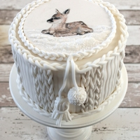 """knitted"" Cake With Painted Fawn"