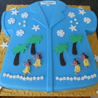 "Hawaiian Shirt   4 x 8"" dark chocolate mud with ganache, sand effect and fondant decorations"