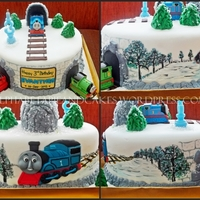 Thomas & Friends In Winter Base: Cheese Cake with Choco GanacheTheme: Thomas & Friends in Winter Ordered by: Ibu Grace from The Cypress - CitraGran **Decoration...