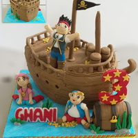 Pirates Cake Base : Chocolate Blueberry Cake*Ships and Treasure Chest are made of cakes*