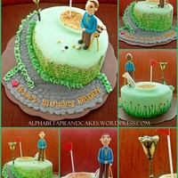 Golf Cake Base: Chocolate Devil's Food CakeTheme: Golf-ing Ordered by: Lidya Kurbiati Madali **Decoration on the sides and the standing lamp are...