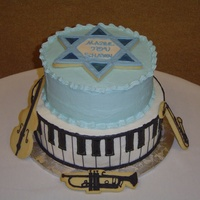 Bar Mitzvah Cake I made these cakes for a boy who loves music. The cakes are vanilla with buttercream frosting. The keys are made out of piping gel. The...