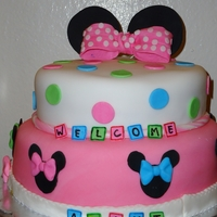 Minnie Baby Shower Cake   My first 2 tier cake.