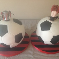 Football   21st birthday cake. One chocolate sponge, one plain madeira for a football fanatic.