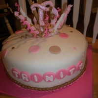 "First Birthday   10"" doube layer choc cake, cheescake filling covered in ganache & fondant with gumpaste & fondant accents"