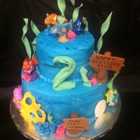 Finding Nemo Birthday Cake A 6 in and 10 in chocolate cake with peanut butter frosting filling. Frosted with a 50/50 butter/shortening since it was to be outside in...