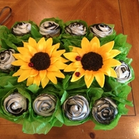 Sunflower Cupcakes I made these cupcakes for my son's teacher. She loves sunflowers and anything jungle print. The petals of the sunflower are made from...