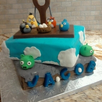 Angry Birds Chocolate cake with chocolate filling/frosting.