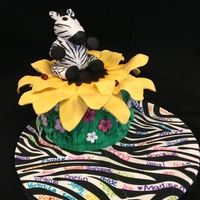 Fondant Covered Round Cake Fondant Sunflower Rice Krispies And Fondant Zebra This Was For My Sons Teacher Who Loves Zebra Prints And Fon Fondant covered round cake. Fondant sunflower, rice krispies and fondant zebra. This was for my son's teacher who loves zebra prints...