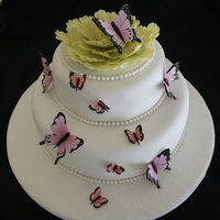 Butterfly Cake Butterflies and peony christening cake. All butterflies are made of sugar and then hand painted :-)