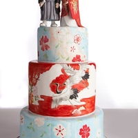 Painted Japanese Wedding Cake  My Japanese-themed wedding cake for a contest. I won second prize! The cakes are painted with cocoa butter, with details from authentic...