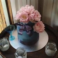30Th Birthday Cake Blue cake with fresh pink peonies.