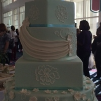 Dainty & Simple Mint Green 5 tier Wedding Cake adored with brush embroidery flowers, gumpaste flowers and swag.