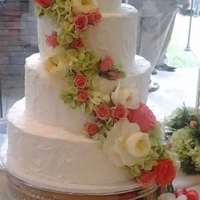 Summer Beauty *4 tier Round Buttercream Wedding Cake with fresh peach and ivory flowers---by Simply Southern Specialties
