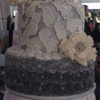 Grey Rosettes And Lace 3 Tier Wedding Cake With Peonies Grey rosettes and lace 3 tier Wedding Cake with Peonies.