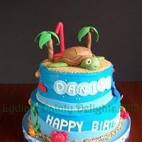 Underwater Turtle Cake 10 and 8 inch vanilla cake. Buttercream frosting with fondant accents