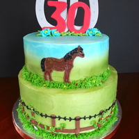 "Horsey Hoedown Cake Two Tier 10"" chocolate and 8"" white cake with buttercream filling. This cake is all buttercream except the topper which is gum..."