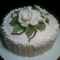Gardenia Cake Gardenia made out of fondant, used dust on leaves of fondant, buttercream icing