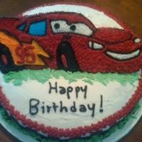 "Lightning Mcqueen Racecar Birthday Cake - Lightning McQueen Racecar, I cut part of the ""racecar"" mold at a slant in the back so it would 'stand up&#..."