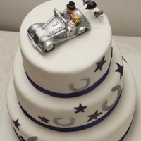 Lucky Horseshoe And Purple Star Wedding Cake Made for a blacksmith and his lucky bride!