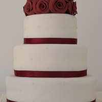 Burgundy Rose Wedding Cake My first wedding cake (and my first upload)!