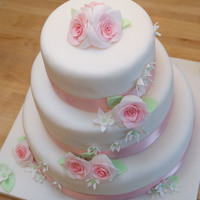 Pastel Pink And Green Rose Wedding Cake Pastel pink and green rose wedding cake