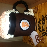 Beer Mug Cake San Francisco Giants Mug beer cake is 8 inches. The first time I made a cake this high. Overall height was nearly 12 inches! I iced it with...