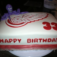 Red Wings Cake Birthday Cake with a Red Wings hockey team theme