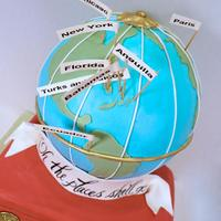 Oh The Places She'll Go Globe and suitcase cake for a 1 year old world traveler!
