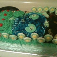 "Dillon's Bugging Me Cake My cousin Dillon requested a ""pond with bugs and stuff"" for his 11th birthday party. This cake is 3 layers of sheet cake,..."
