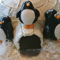 "Igloo Cake  French vanilla cake with buttercream frosting. Igloo ""ice"" made with buttercream frosting. Penguins and igloo entrance made with..."