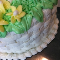 Basket Cake   All decorations made with white, yellow, & green buttercream