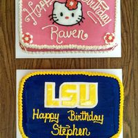 Lsu And Hello Kitty Cakes These cakes are covered in butter cream and decorated with fondant