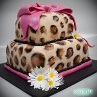 Cheetah Print Birthday Cake Hand-painted fondant cake. Join me at facebook.com/creamcakery!