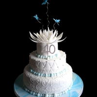 Waterlily & Dragonflies 3 Tier Choc and Vanilla Sponge CakeEntirely edible waterlily