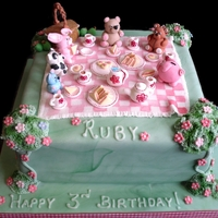 Teddy Bear's Picnic Cake All edible hand-crafted teddies and cuddly friends. With mini tea-set and picnic food :)