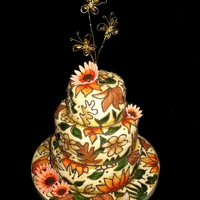 Stained Glass 3 Tier Cake Hand-painted stained glass effect cake in Autumnal colours.